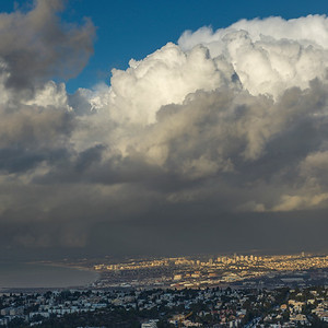 Elevated view of city on the coast, Haifa, Haifa District, Israel