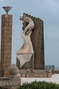 View of memorial statue, Acre, Israel