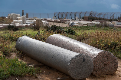 Columns at Roman archaeological site in Caesarea, Haifa District, Israel