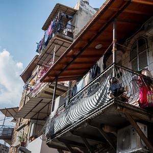 Low angle view of balcony of house, Haifa, Haifa District, Israel