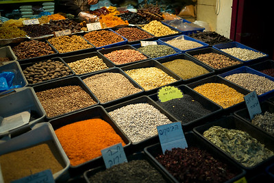 Pulses and nuts for sale at market, Israel