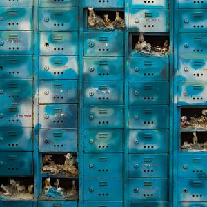 Statues in mailboxes, Ein Hod Artists' Village, Ein Hod, Haifa District, Israel