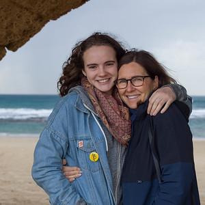 Mother and daughter on beach, Jisr az-Zarqa, Caesarea, Haifa District, Israel