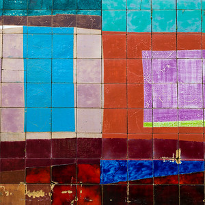 Close-up of multi-colored tiles, Ein Hod Artists' Village, Ein Hod, Haifa District, Israel