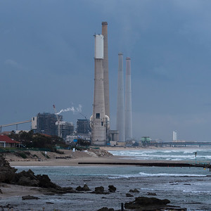 Smoke stacks of factory, Caesarea, Haifa, Haifa District, Israel