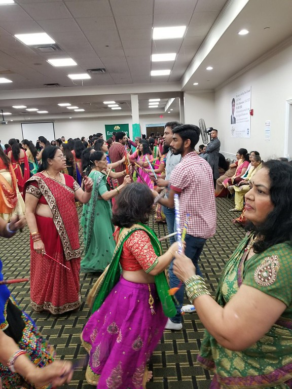 . Everyone dressed in traditional Indian wear to celebrate the festival.