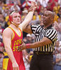 Josh Hale/Iowa State Daily<br /> Cael Sanderson after his pin of Trey Clark during Sunday afternoon's Cyclone wrestling loss to Iowa in Hilton.  (12-09-01)
