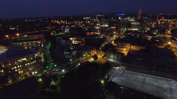 Aerial of Greenville South Carolina at Night