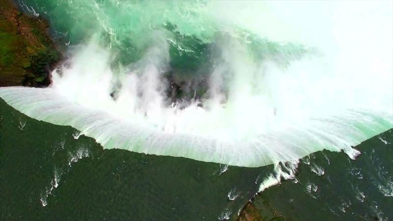 Epic Cinematic Aerial of Niagara Falls At Sunrise