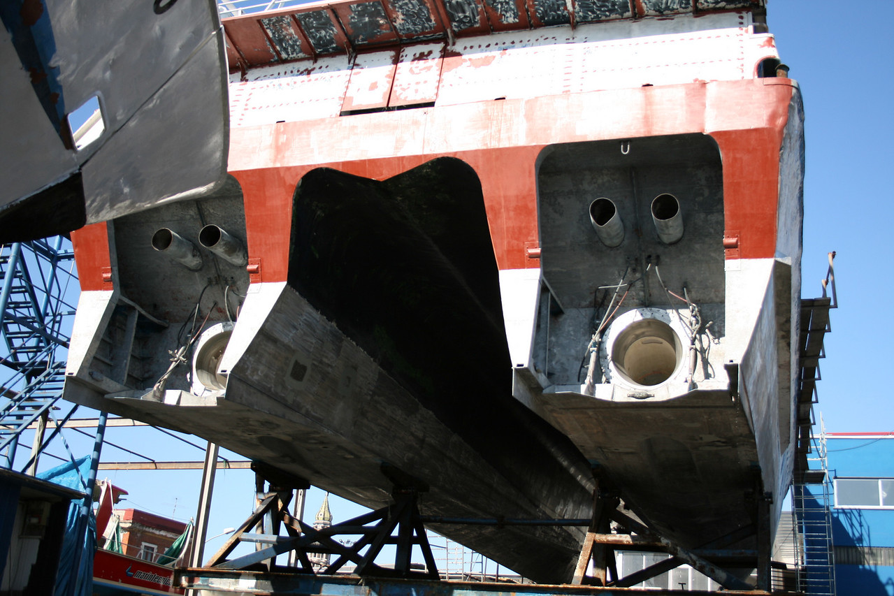 2008 - ACAPULCO JET being repaired in dry dock. Propellers without directional jets.