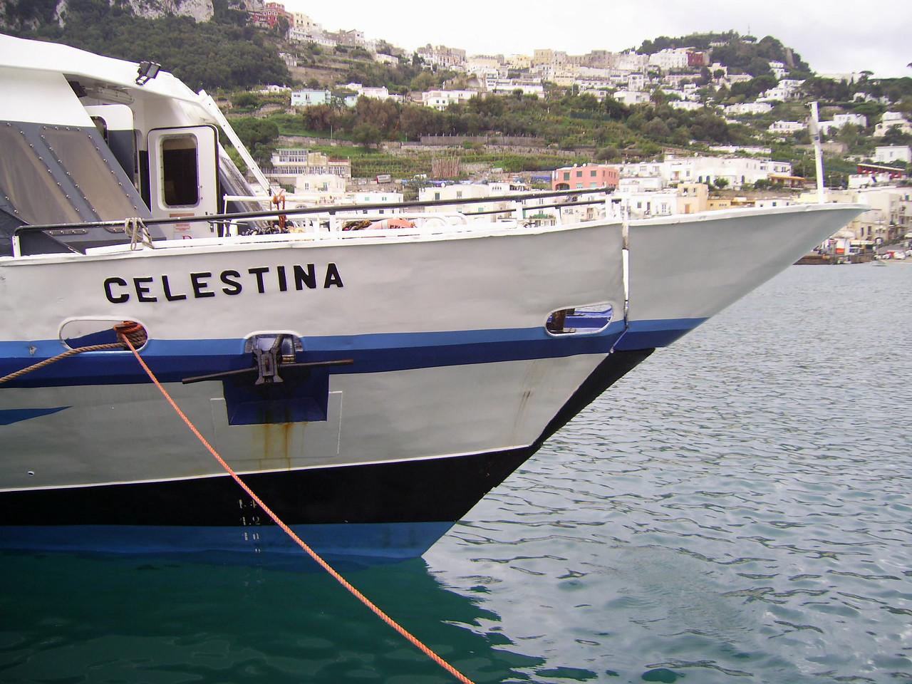 CELESTINA moored in Capri : the bow.