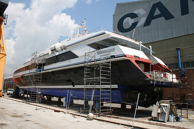 2011 - HSC DON PAOLO in dry dock in Napoli while completing refurbishment after the change of name and owner.