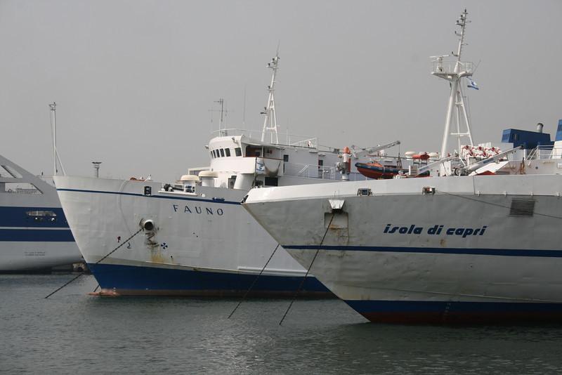 2007 - CAREMAR's ferry boat FAUNO and fast ferry HSC ISOLA DI CAPRI together in Napoli. They both sail on Napoli - Capri route.