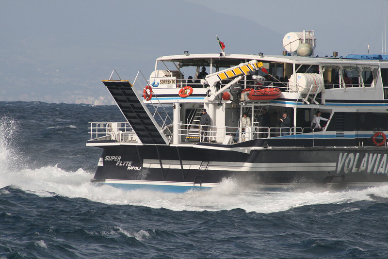 HSC SUPER FLYTE departing from Capri to Sorrento on a very bad sea.