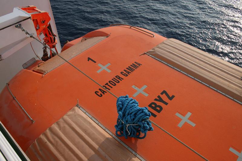 2009 - On board F/B CARTOUR GAMMA : lifeboat.