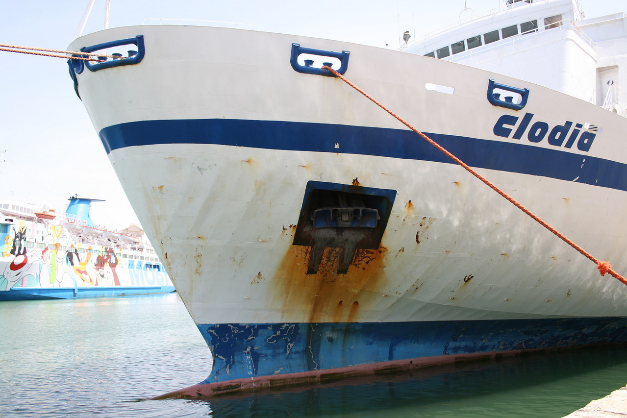 2008 - F/B CLODIA moored in Civitavecchia. Some rust. At the bottom MOBY FANTASY.