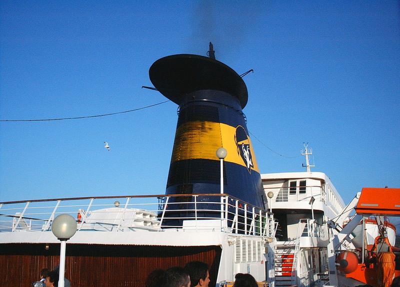 2004 - On board CORSICA VICTORIA : the funnel.