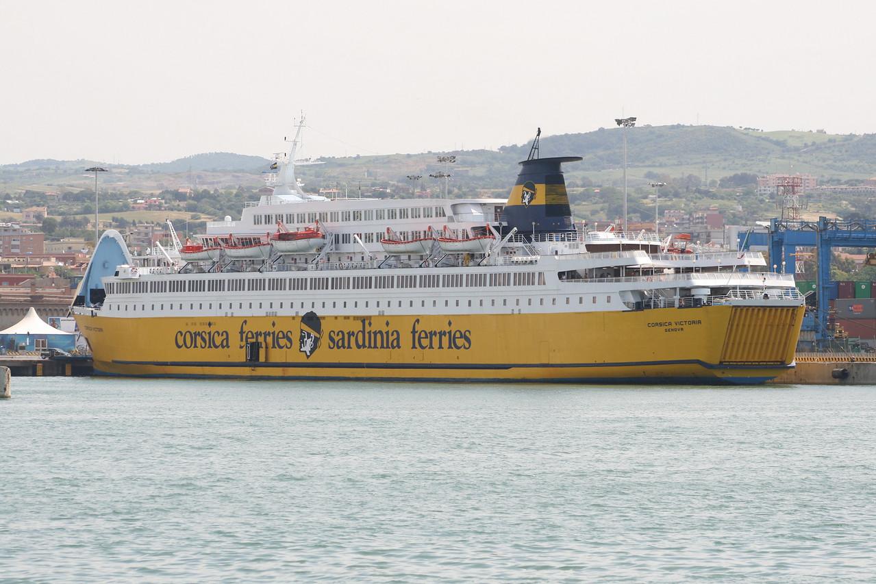 2008 - F/B CORSICA VICTORIA moored by bow in Civitavecchia.