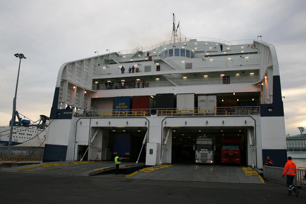 2008 - CRUISE BARCELONA moored in Civitavecchia, ready to disembark.