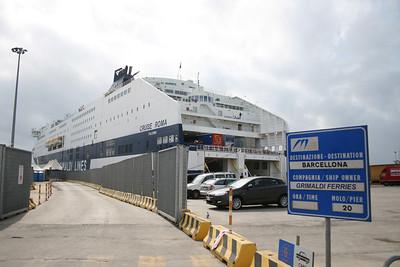 2008 - CRUISE ROMA moored in Civitavecchia. Embarking to Barcelona.