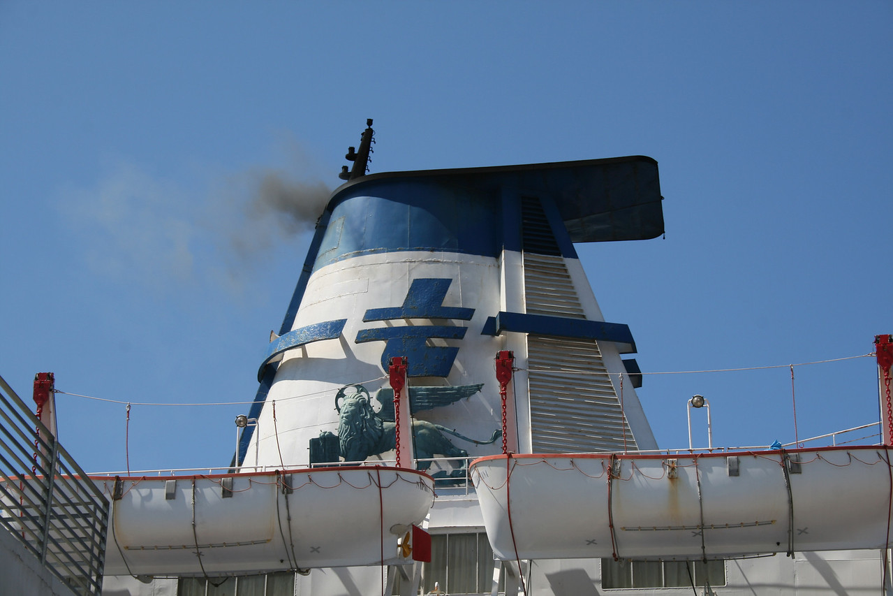 F/B DOMIZIANA : the funnel with the lion of S. Marco, old logo of Adriatica shipping.
