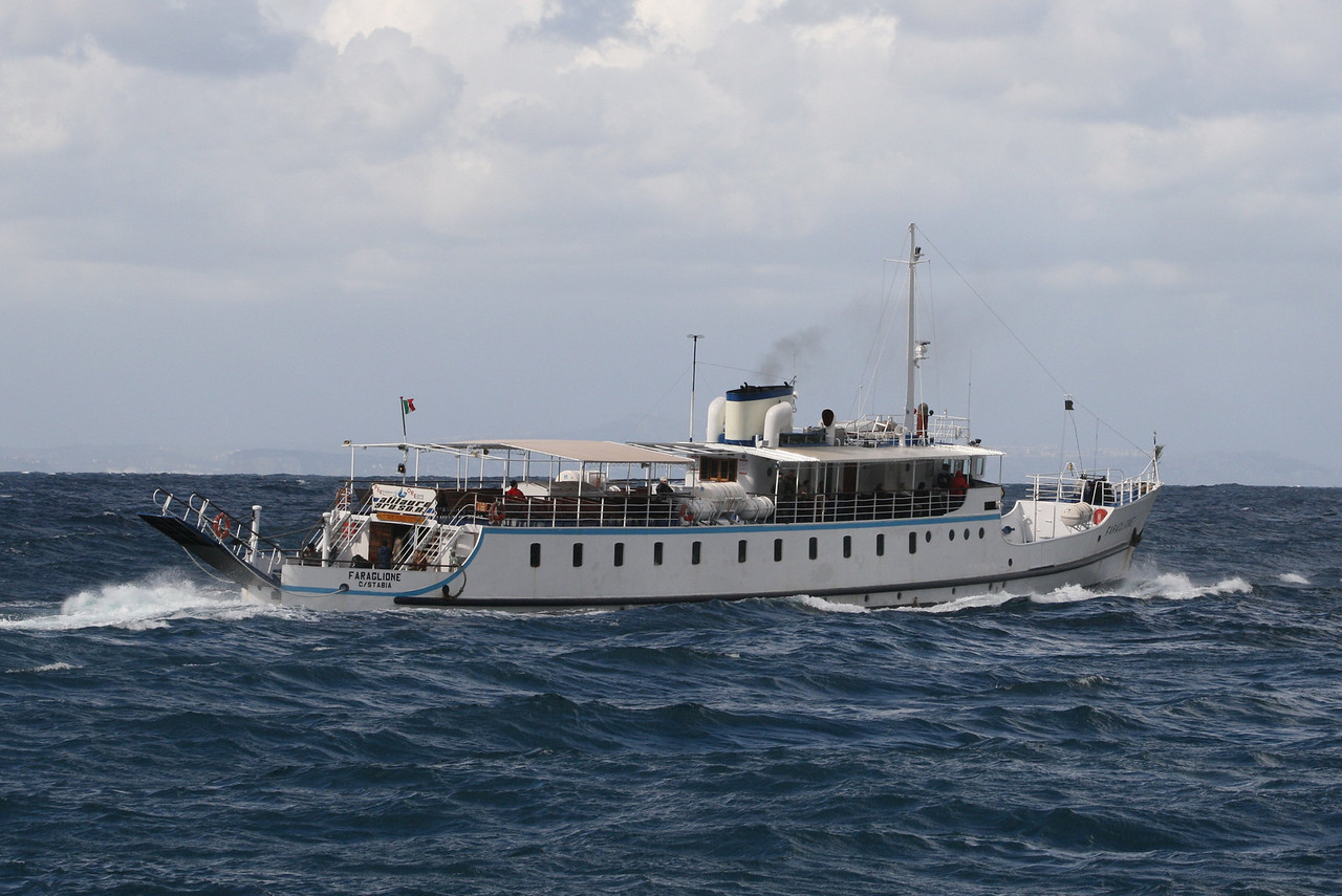 2008 - F/B FARAGLIONE sailing in a stormy day. From 1964 to 2008 the fastest traditional ferry on Sorrento - Capri route.