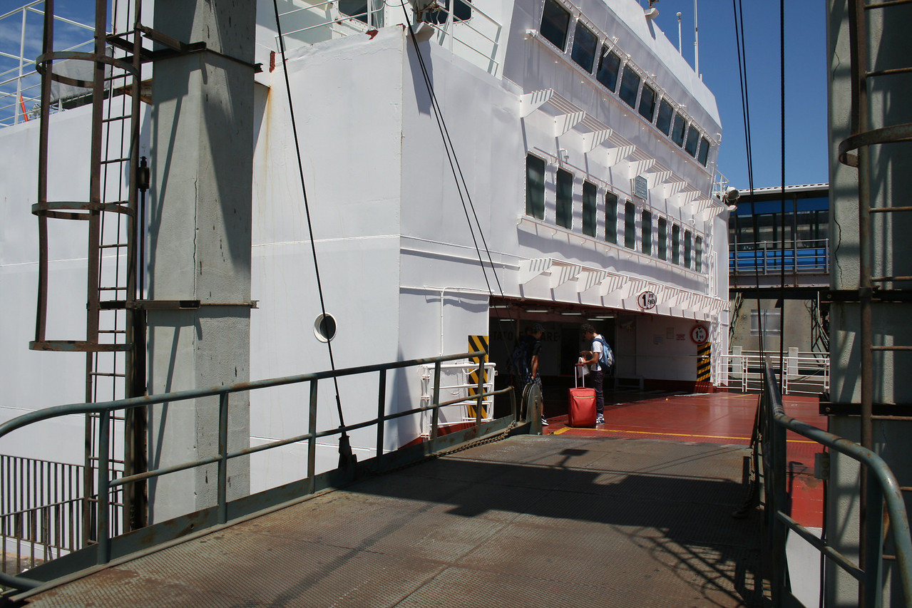 2010 - Crossing the Strait of Messina on board trainferry SCILLA. Embarking through the side gangway.