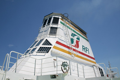 2010 - Crossing the Strait of Messina on board trainferry SCILLA. The funnel.
