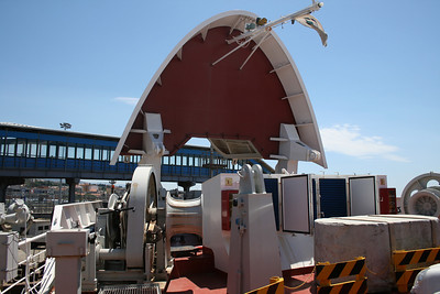 2010 - Crossing the Strait of Messina on board trainferry SCILLA. Operating station on bow.