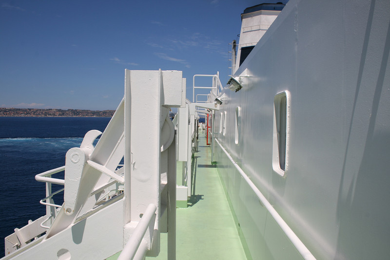 2010 - Crossing the Strait of Messina on board trainferry SCILLA. Upper deck. Way to the bridge.