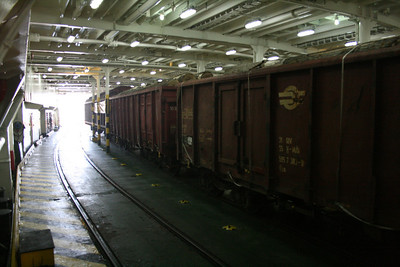 2010 - Crossing the Strait of Messina on board trainferry SCILLA. Train deck.