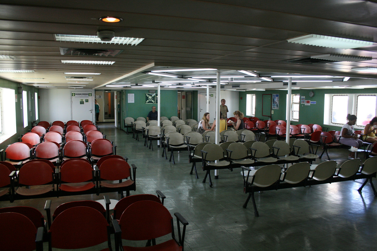 2010 - Crossing the Strait of Messina on board trainferry SCILLA. Passenger lounge.
