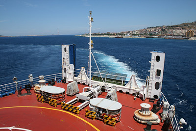 2010 - Crossing the Strait of Messina on board trainferry SCILLA. Operating station astern.