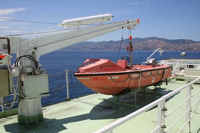 2010 - Crossing the Strait of Messina on board trainferry SCILLA. Fast rescue boat.