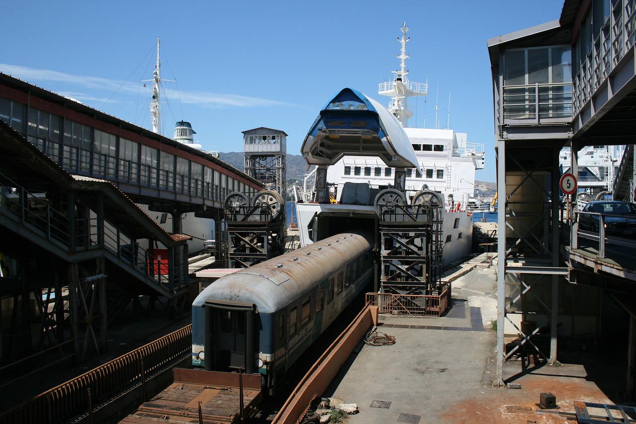 2010 - Crossing the Strait of Messina on board trainferry SCILLA. Disembarking train.