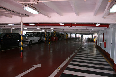 2010 - Crossing the Strait of Messina on board trainferry SCILLA. Car deck.