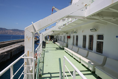2010 - Crossing the Strait of Messina on board trainferry SCILLA. Passenger deck walkway.