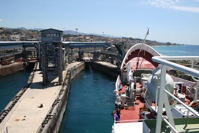 2010 - Crossing the Strait of Messina on board trainferry SCILLA. Leaving the potting pier of Villa San Giovanni.