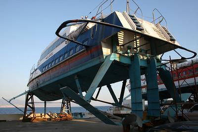Hydrofoil ALGOL laid up and hauled in Messina.