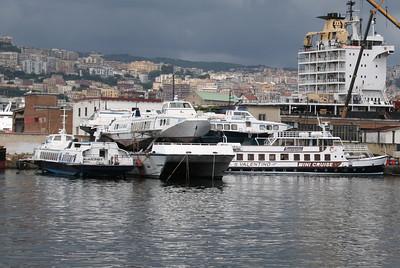 2008 - Laid up area in Marintecnica shipyard in port of Napoli. Hydrofoils are ALIANTARES, ALIARTURO on barned hull of EMANUELE D'ABUNDO, ALIFLORIDA and the F/B S.VALENTINO.