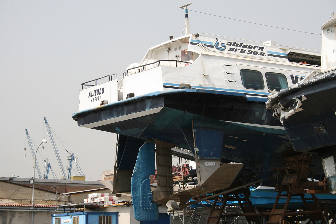 Hydrofoil ALIEOLO hauled at shipyard in Napoli.