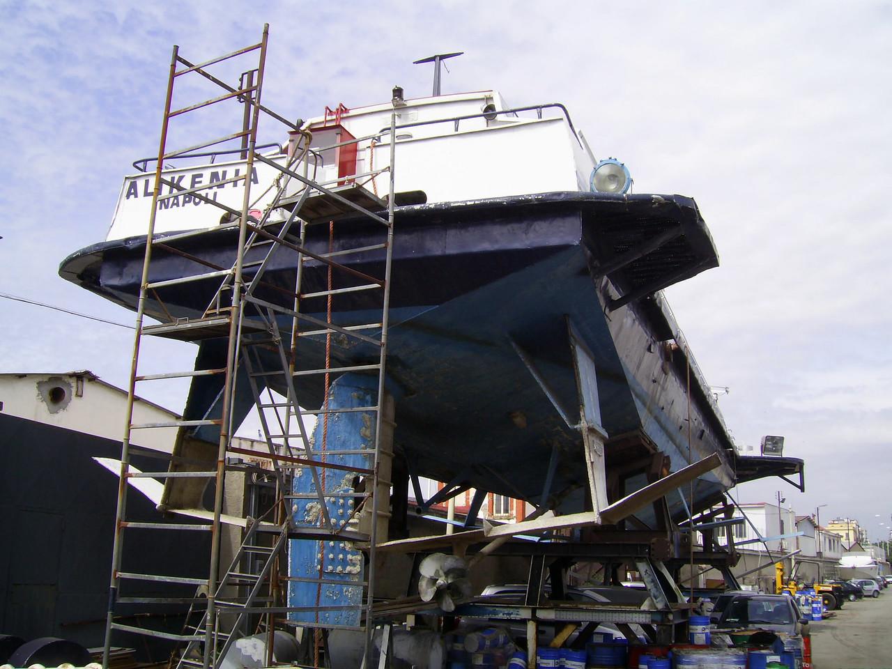 Kolkhida type hydrofoil ALIKENIA laid up and hauled in Napoli.