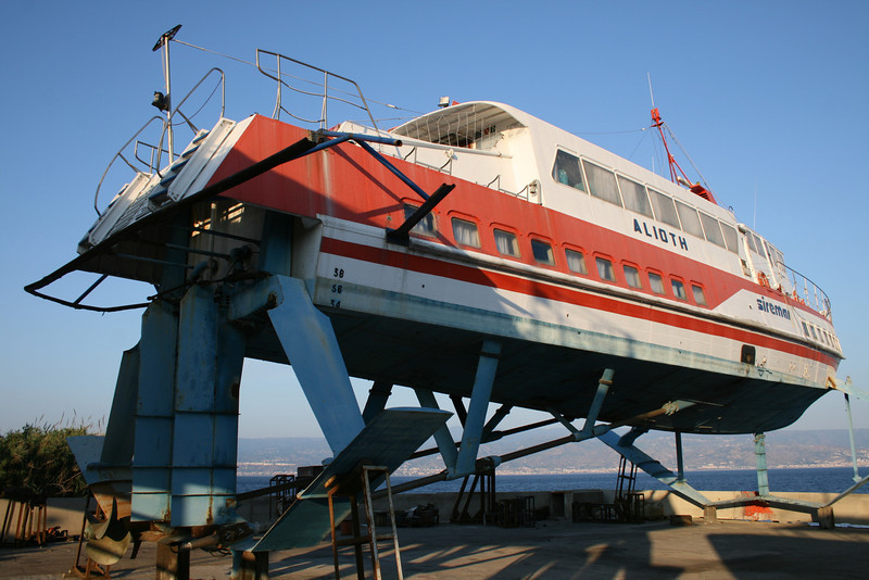 Hydrofoil ALIOTH laid up and hauled in Messina.