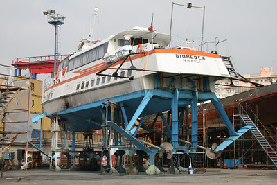 Hydrofoil DIOMEDEA laid up and hauled in Napoli.