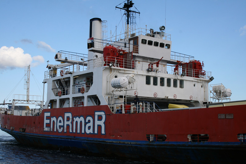Open deck ferry AGATA approaching Palau (Sardinia).