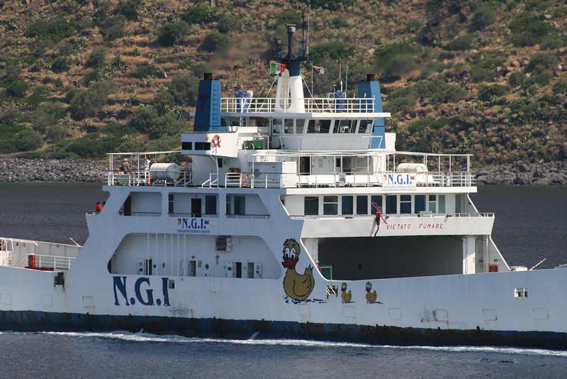Two-way open deck ferry BRIDGE. NGI logo with ducks.
