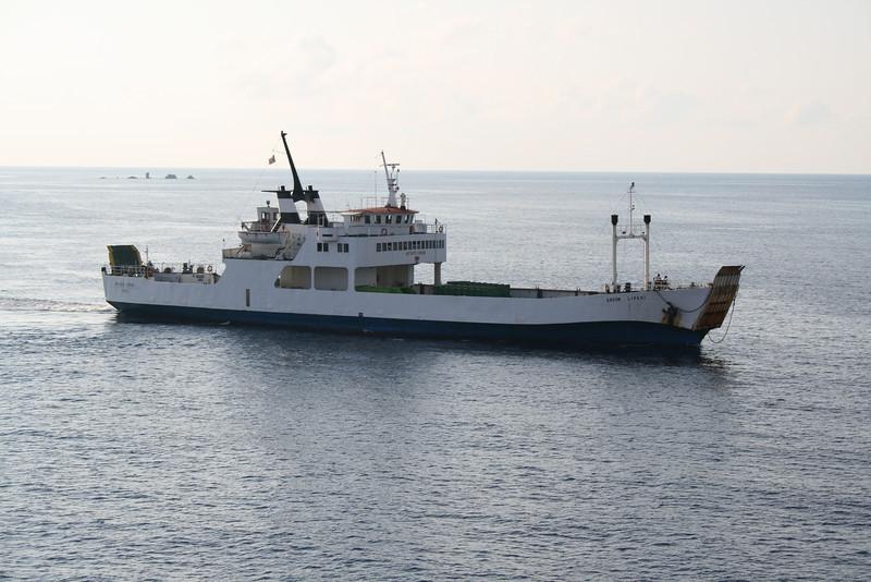 F/B GREEN LIPARI arriving in Panarea to carry away garbage.