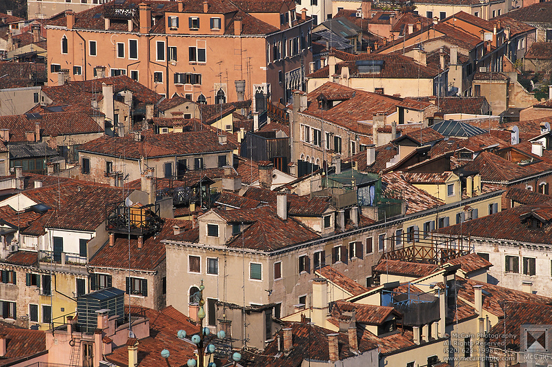 View overlooking the distinctive tile rooftops in Venice, Italy.