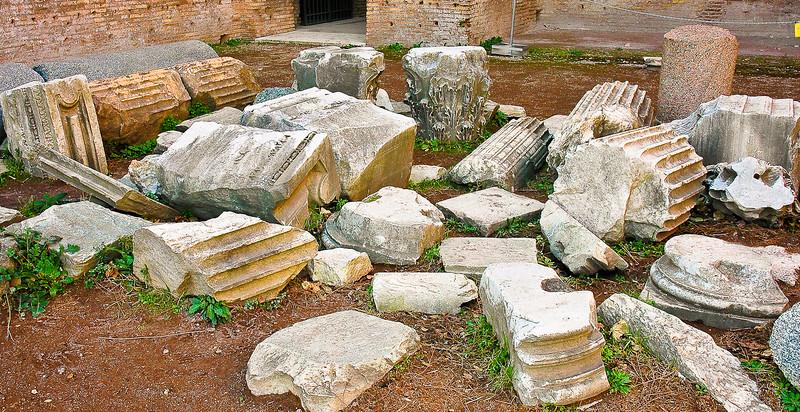 Stone Pillar Graveyard<br /> Roman Forum<br /> Rome, Lazio Region