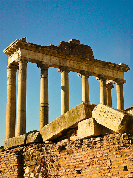 Temple of Saturn<br /> Roman Forum<br /> Rome, Lazio Region